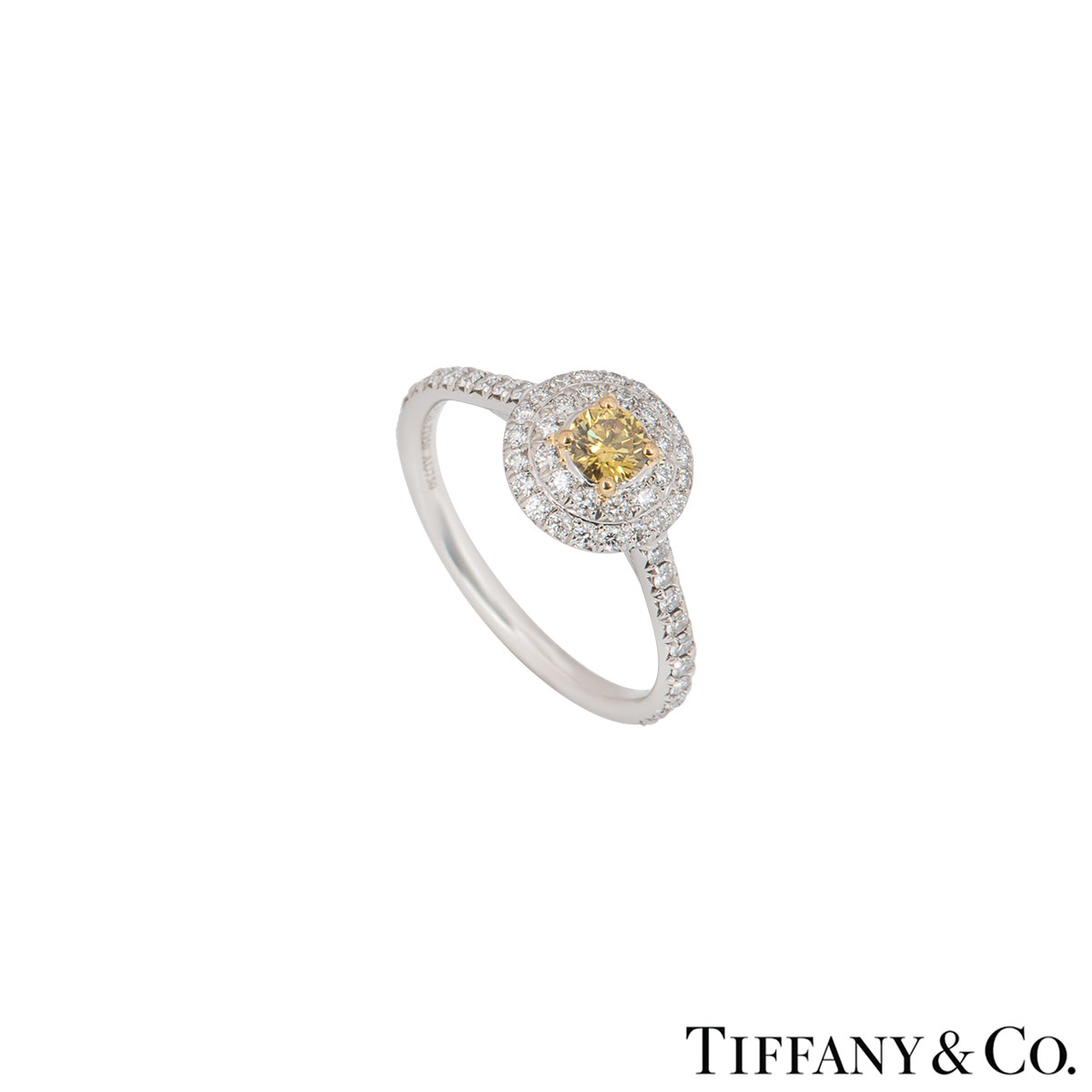 Tiffany & Co. Platinum Fancy Yellow Diamond Soleste Ring